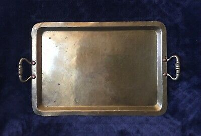 Antique Russian Arts & Crafts Mission Style Hammered Brass Handled Tray Marked