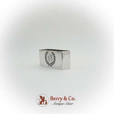 Hammered Rectangular Napkin Ring Engraved Wreath Towle Sterling Silver