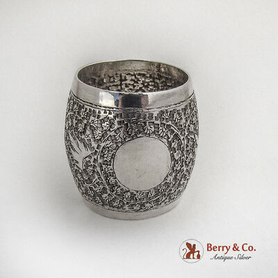 Engraved Chased Foliate Napkin Ring Barrel Shape Indian Sterling Silver 1920