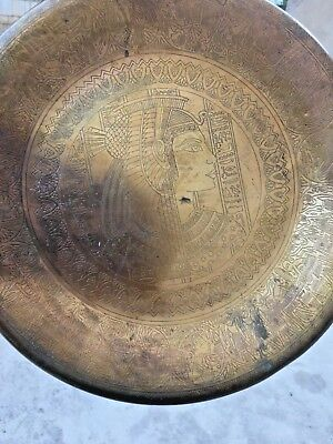 Antique Vintage Egyptian Brass Copper Hand Engraved Etched Pharaonic Plate