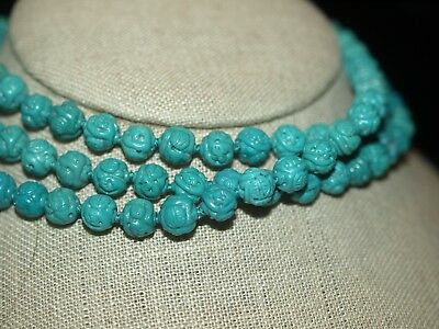 "VINTAGE CHINESE CARVED TURQUOISE SHOU BEAD NECKLACE KNOTTED 41"" LONG 7-8mm ROUND"