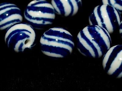 4x lot Vintage Blue White Porcelain Chinese Bead Diagonal Stripes 14mm Round