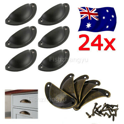 24Pcs Retro Vintage Shell Cupped Cup Pull Wardrobe Drawer Cupboard Knobs Handles