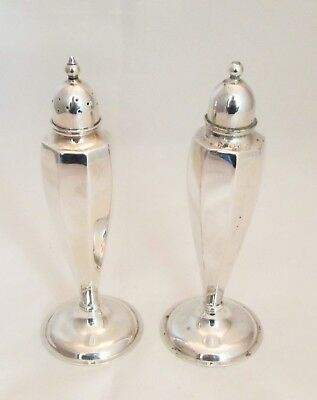 A Pair of Art Deco Silver Plated Salt & Pepper Shakers / Condiments
