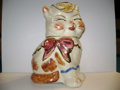Shawnee Pottery Puss n Boots Cookie Jar with Gold Trim & Flowered Decals