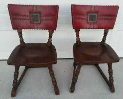 Pair Antique Mission Quartersawn Carved Oak & Leather 2 Side Chairs