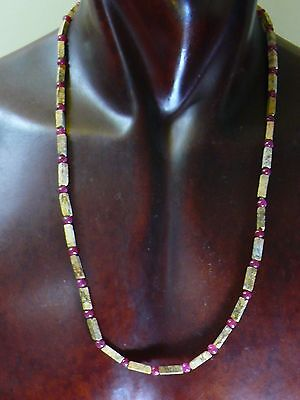(eT30) Jasper & Rubi  Hand Carved  Necklace   Roman Egyptian style