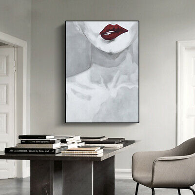 "HH142 100% Hand-painted oil painting on canvas Sexy red lips Unframed 24""x36"""