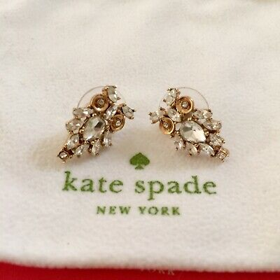 Rare Kate Spade New York Wise Owl Crystal Clear / Gold Stud Earrings