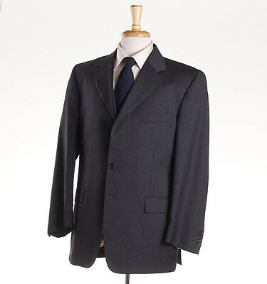 NWT $1495 LUCIANO BARBERA Solid Charcoal Gray Wool Suit 46 S (Eu 56c) Slim-Fit