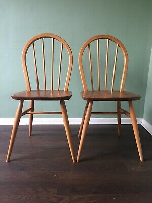 Ercol Hoop Back Chairs Vintage Retro Mid Century Pair Two 2