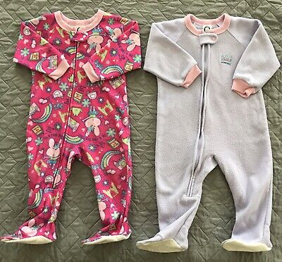 d477a594f Lot 2 Gerber 18 Month Baby Girl Sleeper Footed Purple Pink Bunny Princess  GUC!