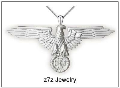 "IMPERIAL EAGLE  Necklace - 2"" silver german / roman emblem ww2 waffen z7qq"