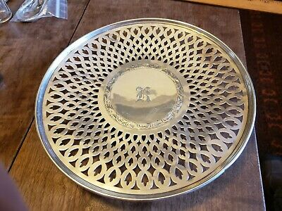1914 Sterling Silver Pierced, Engraved Raised Footed Plate SAART BROS. Mono'd K