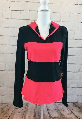 Nwt RBX Women's Multi -Color Striped Long Sleeve Hooded Athletic Pullover Size M