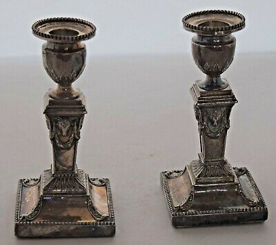 Antiques Rams head sterling silver candle sticks holders ornate unique & unusual