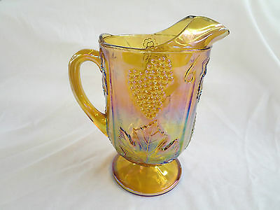 Indiana Marigold Carnival Glass Harvest Grape Water Milk Pitcher Vintage Antique