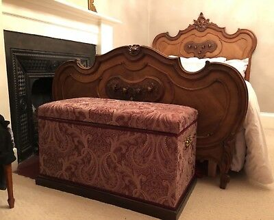 EXCEPTIONAL ANTIQUE FRENCH ROCOCO WALNUT DOUBLE BED HAND CARVED LOUIS XV 19c