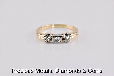Antique 14k Yellow & White Gold Triple Diamond Accented Band Ring Sz: 6.5