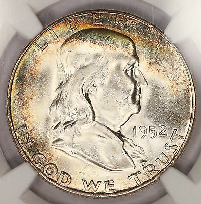 1952-S Franklin Half Dollar NGC MS65 Super Rainbow Toned Colorful Toning CAC! 2D