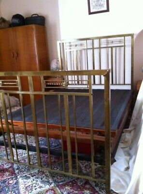 Antique art deco brass bedstead early 20th century