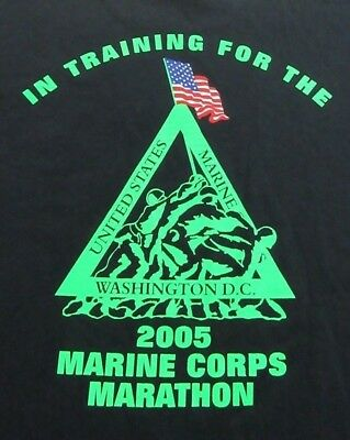 UNITED STATES MARINE CORPS 2005 Marathon Support Black SS T Shirt Size XL