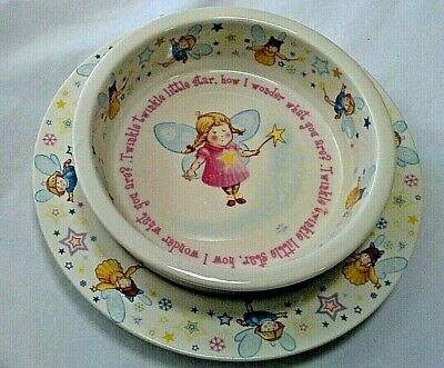 Anderton Pottery England Twinkle Little Star Girl Childrens Plate Bowl Set Fairy