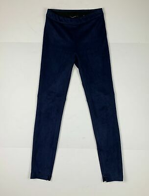 T Tahari Roxanna Faux Suede Skinny Pant Navy Blue Women Sz XS Slim Pull On Ankle