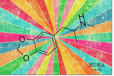 Mdma Molecule Molly Mandy Art Photo Print Poster - 12 X 8 Inch  - A+ Quality