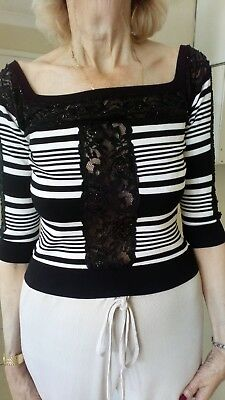 Ladies french Black and white Designer Top bardot neckline Size 2 By Safaie