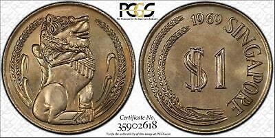 1969 Singapore $1 Bu Pcgs Ms66 Only One Coin Graded Higher