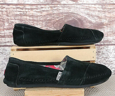 8e6ba29372b Bobs By Skechers Womens Chill Luxe Black Suede Leather Flats Sz 9 Slip on  Shoes