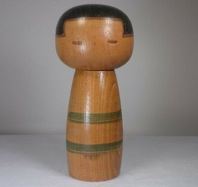 "19cm/391g Cute! Kokeshi Doll by ""Sanpei Yamanaka"". Japanese traditional crafts."
