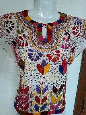 9bfb5475bb20a4 Mexican Blouse Medium Hand Embroidered Mayan Corn Pattern Chiapas Hippie  Fiesta