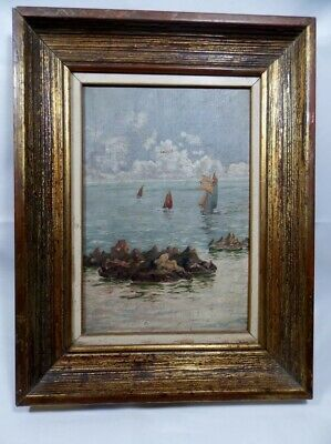 Beautiful Oil on Canvas  Marine Decorative Art from Period unsigned and Framed