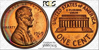 1969-S  1c LINCOLN MEMORIAL PENNY PCGS PR64RD PROOF TONED COIN IN HIGH GRADE