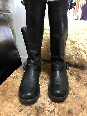 a7e132ca791d7 Frye 77605 Veronica Slouch Black Leather Motorcycle Boots Women s Size ...