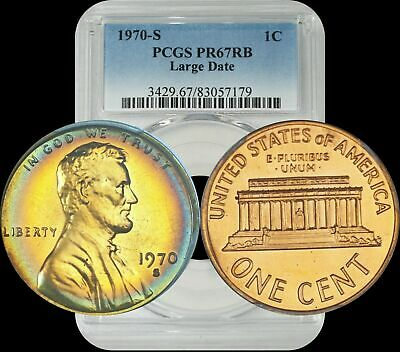 1970-S Lincoln Penny Large Date PCGS PR67RB Multi-Color Target Toned Coin