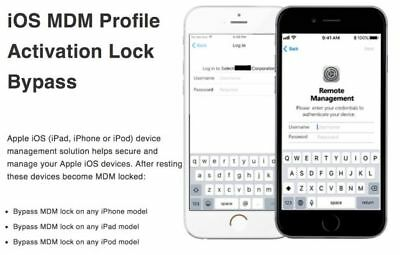APPLE MDM BYPASS IPHONE / IPAD / IPOD100% all iOS Till IOS 13.X.X [Fast Service]