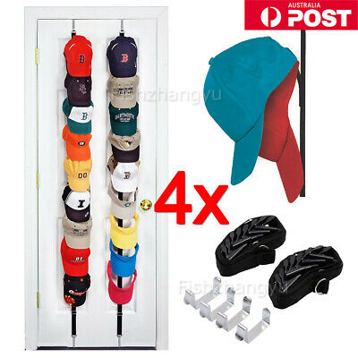 4 x Caprack 8-Baseball Cap Hat Holder Rack Storage Organiser Hats Rack Cap Shelf