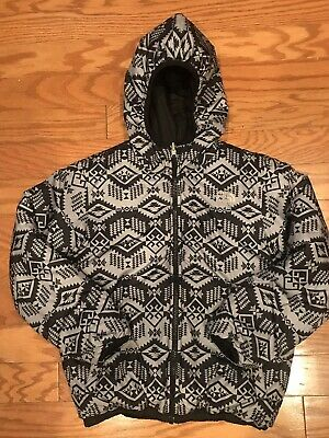 074962a4b NORTH FACE BOYS Black Aztec Perrito Reversible Puffer Jacket Youth M 10 12