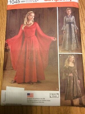 Medieval Gown Costume Misses Size 6-12 Simplicity 1045 Sewing Pattern NEW Uncut