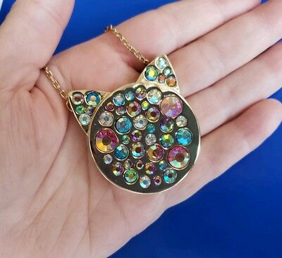 6fca2dce0 Betsey Johnson Goldtone JUST KITTEN AROUND Multi Stone Cat Face Necklace $48