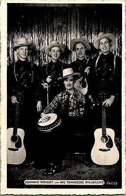 Johnnie Wright and hisTennessee Hillbilles Postcard Married to Kitty Wells c523