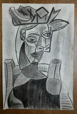 PABLO PICASSO - DRAWING ON PAPER, Art, Signed Artwork,