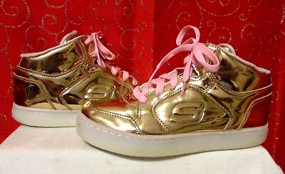 f9a17fe9dc78 Skechers Energy Lights Dance-N-Dazzle Metallic Rose Gold Sneakers Yth Sz 5