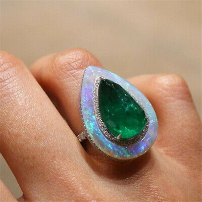 Vintage Women 925 Silver Fire Opal Pear Cut Emerald Ring Party Jewelry Sz 6-10