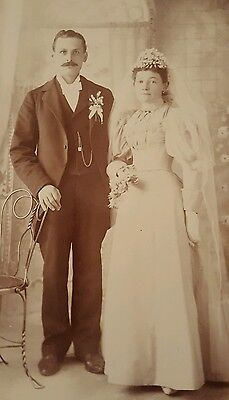 Vintage Antique Cabinet Photograph Bride and Groom Milwaukee, WI