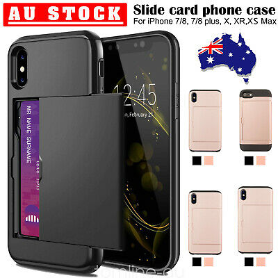 iPhone X XS Max XR 8 7+ Case Slide Armor Wallet Card Slot Holder Cover for Apple