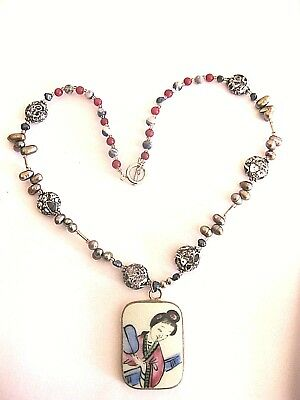 """Vintage Pearl & Bead Necklace w Large Chinese Ceramic Pendant in Silver 17"""" Long"""
